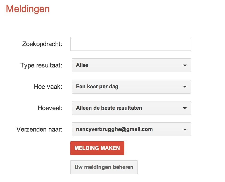Google Alerts voor monitoring